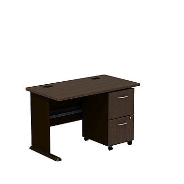 Bush Cubix 48in.W Desk w/ 2 Dwr Mobile Ped (F/F) - Cappuccino Cherry/Hazelnut Brown