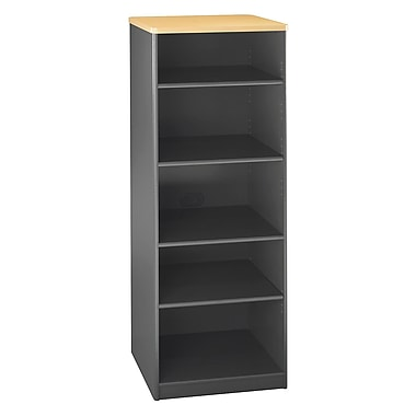 Bush Cubix 26in.W x 19-1/2in.D 5-Shelf Bookcase Beech/Slate Gray, Fully assembled