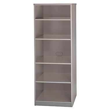 Bush Cubix 26in.W x 19-1/2in.D 5-Shelf Bookcase, Pewter/White Spectrum, Fully assembled