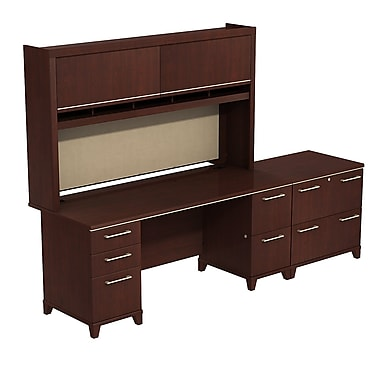 Bush Enterprise 72in.W x 30in.D Double Pedestal Desk with Hutch and Lateral File , Harvest Cherry