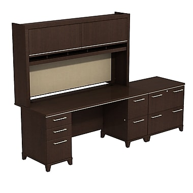 Bush Enterprise Double Pedestal Desk with Hutch and Lateral File, 71.51