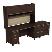 Bush Enterprise 72W x 30D Double Pedestal Desk with Hutch and Lateral File, Mocha Cherry