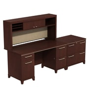 Bush Enterprise 60W x 30D Double Pedestal Desk with Hutch and Lateral File, Harvest Cherry