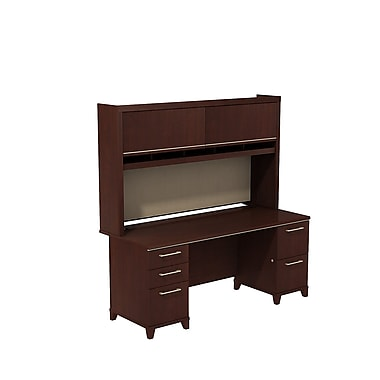 Bush Business Furniture Enterprise 72W x 30D Double Pedestal Desk with Hutch, Harvest Cherry (ENT006CS)