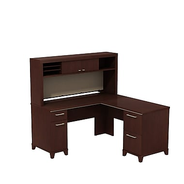 "Bush Enterprise L Desk with Hutch 60"" x 60"" Harvest"