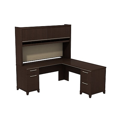 Bush Business Enterprise 72W x 72D L-Desk with Hutch, Mocha Cherry