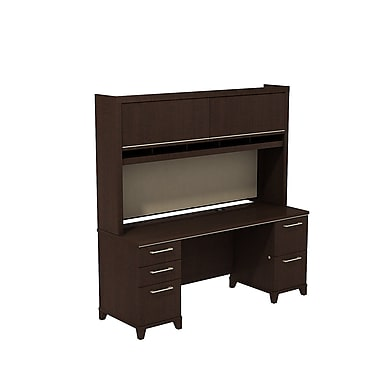 Bush Enterprise Double Pedestal Desk with Hutch, 71.51