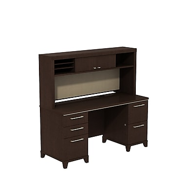 Bush Enterprise Double Pedestal Desk with Hutch Mocha