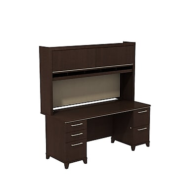 Bush Enterprise Double Pedestal Desk with Double Pedestal Desk and Hutch, Mocha Cherry