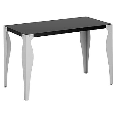 Bush Furniture Farrago Table/Desk Top with Swept Legs, Black with Silver Legs