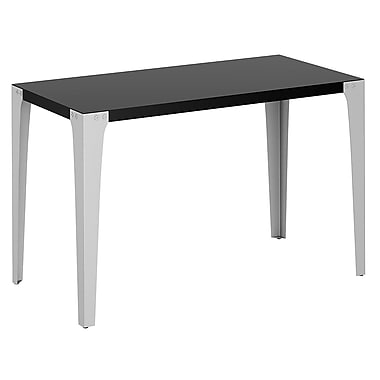 Bush Farrago Table Desk with Swept Legs, Black / Pewter