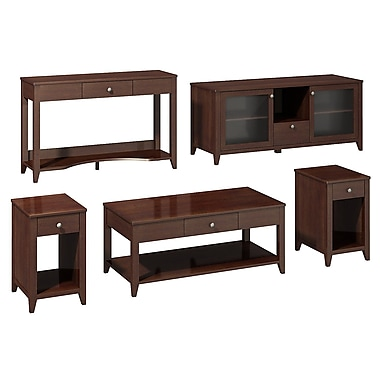 Bush kathy ireland Grand Expressions Family Work-N-Play Bundle (58in. TV Stand) Warm Molasses