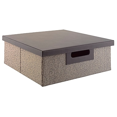 kathy ireland® Office by Bush Furniture Media Storage Bin, Brocade Swirl - Charcoal and Grey (KIACC406-03)