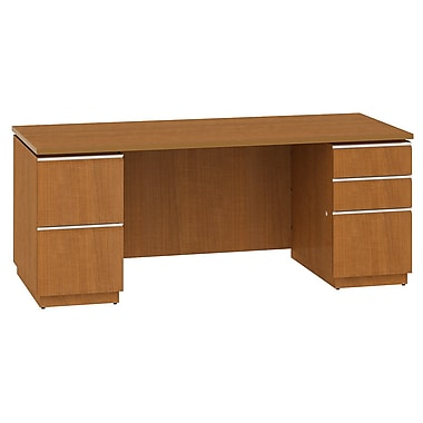 Bush Milano2 72in.W Double Pedestal Desk (F/F, B/B/F), Golden Anigre