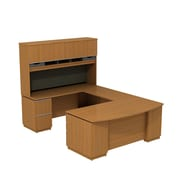 Bush Business Milano2 72W Left Hand U-Station with 72W Hutch Storage, Golden Anigre