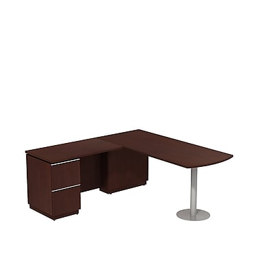 Bush Milano2 72in.W LH Peninsula L-Desk, Harvest Cherry