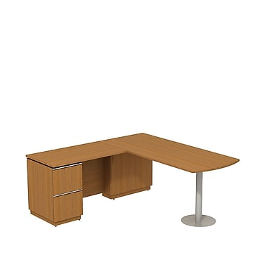 Bush Milano2 72in.W LH Peninsula L-Desk, Golden Anigre, Fully Assembled