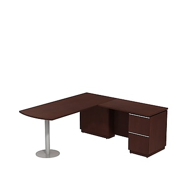 Bush Milano2 72in.W RH Peninsula L-Desk, Harvest Cherry, Fully Assembled
