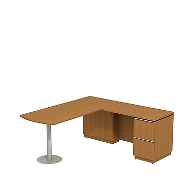 Bush Milano2 72in.W X 30in.D RH Peninsula L-Desk, Golden Anigre, Installed