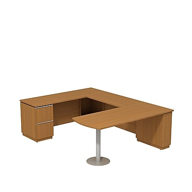 Bush Milano2 72in.W X 30in.D LH Peninsula Desk U-Station, Golden Anigre