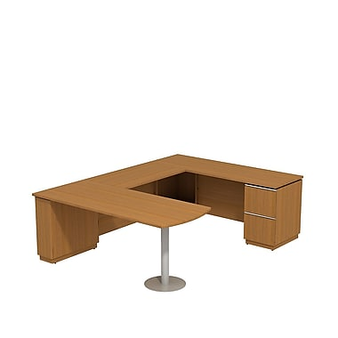 Bush Milano2 72in.W RH Peninsula U-Desk, Golden Anigre