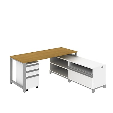 Bush Momentum 72in.W X 30in.D Desk with 24in.H Storage and 3Dwr Mobile Ped, Modern Cherry