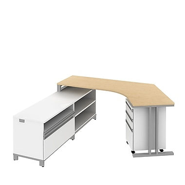Bush Momentum Dog Leg Desk in LH L-Config with 24in.H Storage and 3Dwr Mobile Ped, Natural Maple