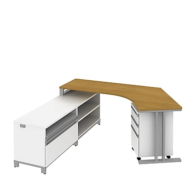 Bush Business Momentum Dog-Leg Right Desk in Left Hand L-Configuration with Storage and Pedestal, Modern Cherry