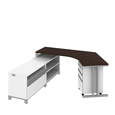 Bush Business Momentum Dog-Leg Right Desk in Left Hand L-Configuration with Storage and Pedestal, Mocha Cherry