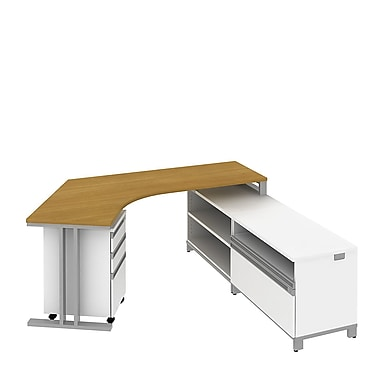 Bush Business Momentum Dog-Leg Left Desk in Right Hand L-Configuration with Storage and Pedestal, Modern Cherry