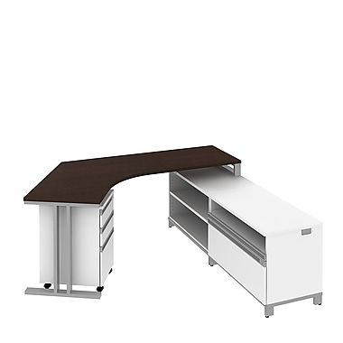 Bush Momentum 82in.W x 72in.D Floating RH L-Station with 24in.H Open Storage, Piler/Filer and 3 Drawer Mobile Pedestal, Mocha Cherry