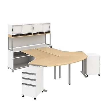 Bush Business Momentum Dog-Leg Desks in 2 Person Configuration with Storage, Mobile Peds and Hutch, Natural Maple