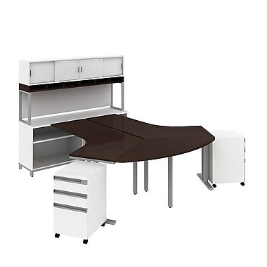 Bush Business Momentum Dog-Leg Desks in 2 Person Configuration with Storage, Mobile Peds and Hutch, Mocha Cherry