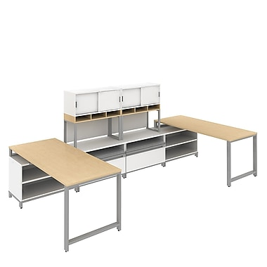 Bush Momentum, 145in.W x 72in.D 2-Person Teaming Station with 36in. Hutch, 24in.H Open Storage and Piler/Filer, Natural Maple