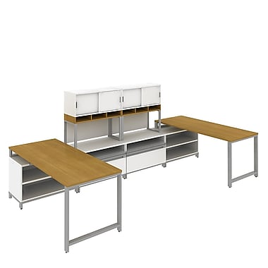 Bush Momentum, 145in.W x 72in.D 2-Person Teaming Station with 36in. Hutch, 24in.H Open Storage and Piler/Filer, Modern Cherry