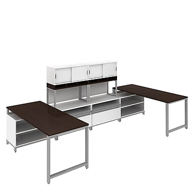 Bush Momentum, 145in.W x 72in.D 2-Person Teaming Station with 36in. Hutch, 24in.H Open Storage and Piler/Filer, Mocha Cherry