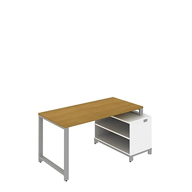Bush Momentum 60in.W Floating Desk w 24in. H Open Storage Modern Cherry