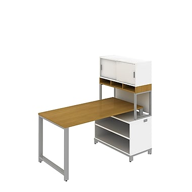 Bush Business Momentum 60W X 30D Desk with 24H Open Storage and 36W Hutch on Riser, Modern Cherry