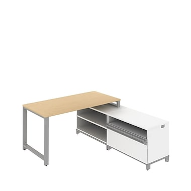 Bush Momentum 60in.W x 72in.D Floating L-Desk with 24in.H Open Storage and Piler/Filer, Natural Maple