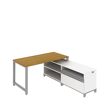 Bush Momentum Floating L-Desk with Open Storage and Piler/Filer, Modern Cherry