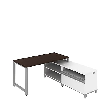 Bush Momentum 60in.W x 72in.D Floating L-desk w 24in.H Open & Piler/Filer Storage Mocha Cherry