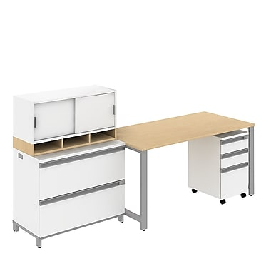 Bush Business Momentum 60W x 30D Desk with 3Dwr Mobile Ped and 2Dwr Lateral File with Hutch, Natural Maple