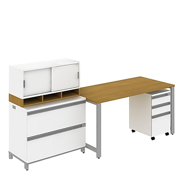 Bush Momentum 60in.W Freestanding Table Desk, 3-Drawer Mobile Pedestal, 2-Drawer Lateral file and 36in.W Hutch, Modern Cherry