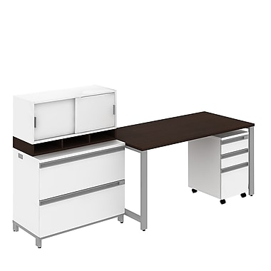 Bush Momentum 60in.W Freestanding Table Desk, 3-Drawer Mobile Pedestal, 2-Drawer Lateral file and 36in.W Hutch, Mocha Cherry