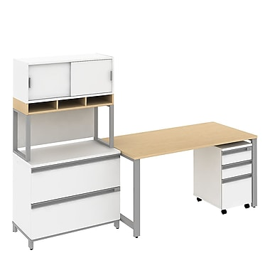 Bush Business Momentum 60W Desk with Filing and Storage, Natural Maple