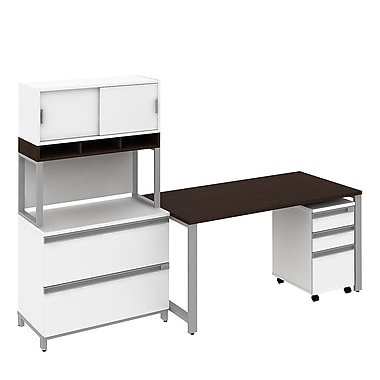 Bush Business Momentum 60W Desk with Filing and Storage, Mocha Cherry