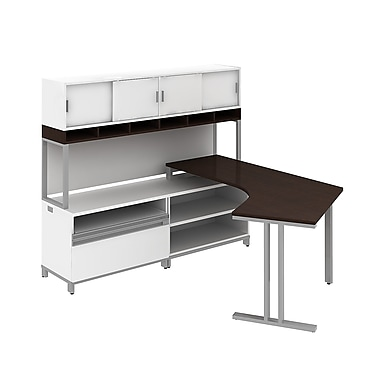 Bush Business Momentum Floating Dog-Leg Left Hand L-Station with 72W Hutch and 24H Storage, Mocha Cherry