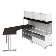 Bush Business Momentum Floating Dog-Leg Right Hand L-Station with 72W Hutch and 24H Storage, Mocha Cherry