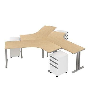 Bush Momentum Dog-Leg Right Desk 3-Person Configuration with (3) 3Dwr Mobile Peds, Natural Maple
