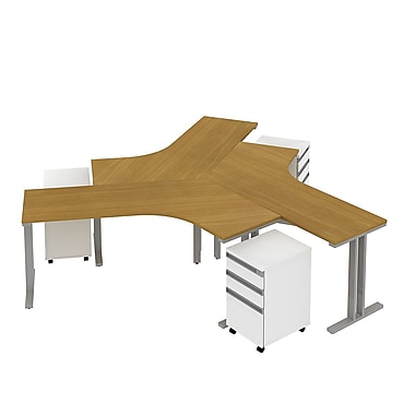 Bush Momentum 165in.W x 165in.D 3-Person Teaming Desk with Storage(3) 3-Drawer Mobile Pedestals, Modern Cherry